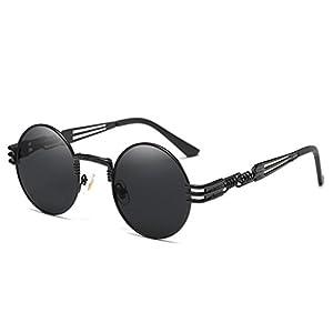 Joopin-Round Retro Polaroid Sunglasses Driving Polarized Glasses Men Steampunk (Black Punk)