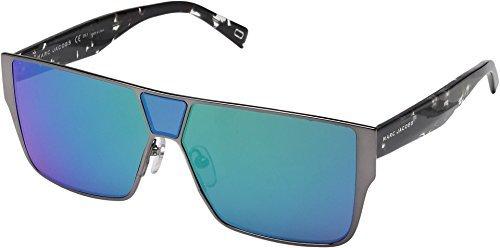 Marc Jacobs Unisex Marc 213/S Matte Ruthenium Gray With Mirror Green Lens - Sunglasses Shield Marc Jacobs