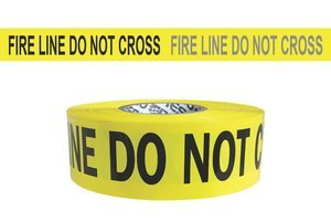 3'' x 1000' 3 mil Yellow''FIRE LINE DO NOT CROSS'' Day/Night Hazard Warning Barricade Tape by PRESCO PRODUCTS