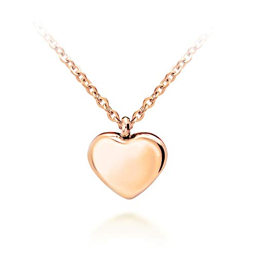 555Jewelry Womens Stainless Steel Love Cute Heart Shape Small Dainty Delicate Cable Chain Charm Shiny Gift Vintage Fashion Girls Jewelry Accessory Hanging Pendant Necklace, Pink Rose Gold 18 Inch ()