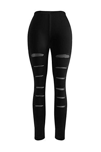 5d4664f527ff5 MAKARTHY Yoga Pants Women's Sexy High Waist Mesh Insert Ripped Casual  Workout Leggings