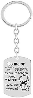 BOLBO Bolboreta Valente - Regalo Día del Padre - Llavero - Personalizado - Lo Mejor de Tenerte como Padre - Plata - Papá - Abuelo - Familia - Cumpleaños - Hombre - Chico