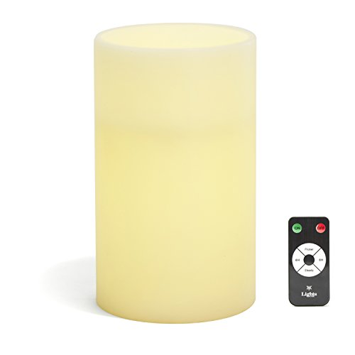 Large Ivory Wax Flameless Pillar Candle with Remote, 6x10, Warm White LEDs, Batteries Included - for Home Decor, Weddings, Parties and Gifts