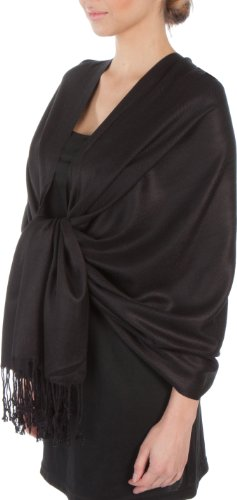 Sakkas Large Soft Silky Pashmina Shawl Wrap Scarf Stole in Solid Colors - Black by Sakkas