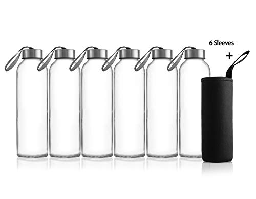 Zuzoro - 6-Pack -18oz Juice & Beverage Glass Water Bottles - for Juicing or Kombucha Storage - Includes Nylon Bottle Protection Sleeves No-Leak Caps w/Carrying Loops. - Clear Reusable bottles (Glass Insulated Beverage Bottle)