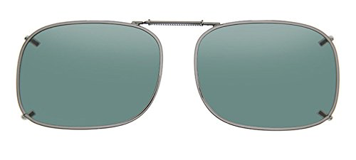 Cocoons Polarized Clip-on Rectangle 1 L4238G Rectangular Sunglasses, Gunmetal, 56 - Cocoon Sunglasses Clip On