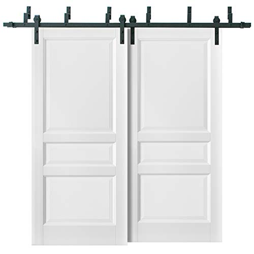 Barn Bypass Doors 84 x 96 with 6.6ft Hardware | Lucia 31 Matte White | Sturdy Heavy Duty Rails Kit Steel Set | Double…
