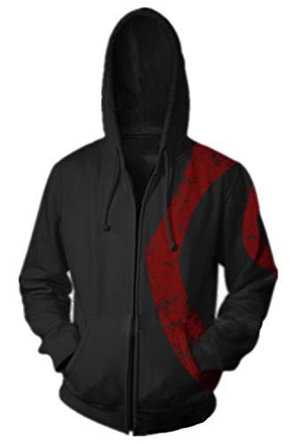 (Mesodyn Unisex Printed Kratos Jacket Adult Zipper Hoodie Halloween Cosplay)