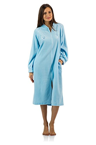 Casual Nights Women's Zip Up Front Long Fleece Robe House Dress - Blue - Medium