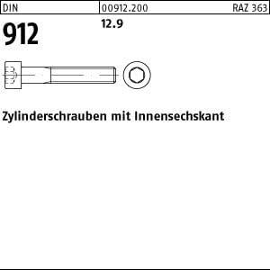 100 Innensechskant Zylinderkopfschrauben DIN 912 12.9 schwarz M6x30