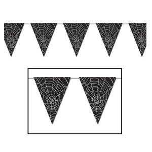 Spider Web Pennant Banner Party Accessory (1 count) (Halloween Web Banners)