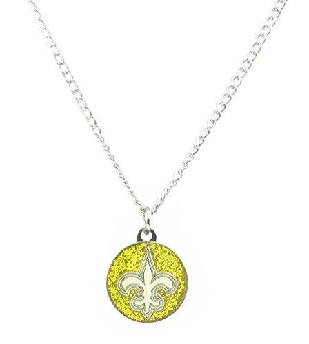 Nfl Logo Pendant (New Orleans saints Glitter Necklace NFL Team Logo Charm Pendant Gift)