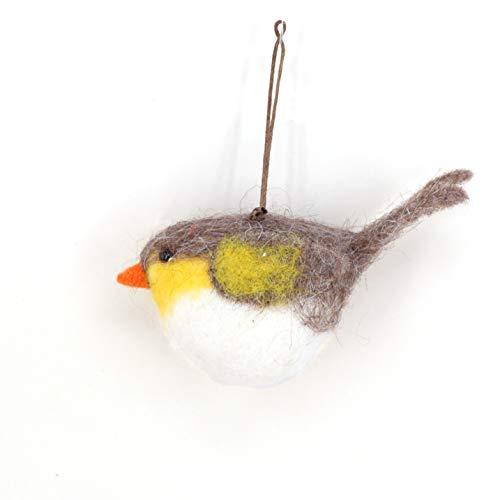 B & D Combined Inc.Hand Crafts Ornament Animal, Wool Bird Robin Wool Ornament Needle Crafts Needle Felted Wool Bird Hanger