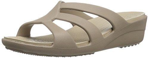 crocs Women's Sanrah Strappy Wedge Sandal, Mushroom/Cobblestone, 9 M US ()