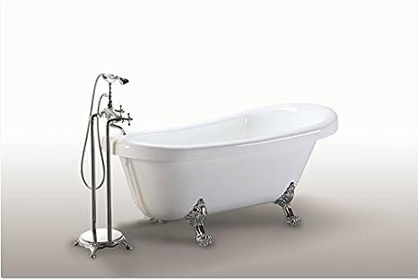 Vasca da bagno margherita freestanding bianca con piedini colore ...