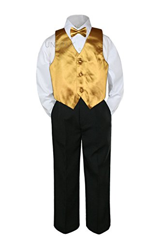 4pc Formal Baby Toddler Teens Boys Gold Vest Bow Tie Black Pants S-14 (4T)