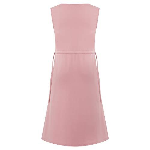 Women Vintage Sleeveless Formal Cocktail Swing Dress Plus Size Pink XXL 4