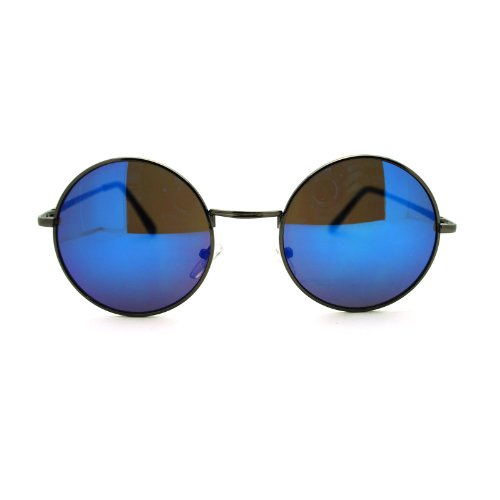 John Lennon Circle Lens Revo Mirror Lens Wire Rim Round Sunglasses Gunmetal - Blue Sunglasses Circle
