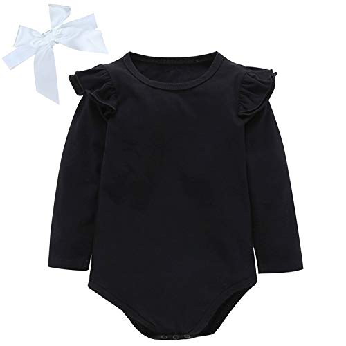 (Baby Girl Romper Bodysuits Lace Flutter Sleeveless Bowknot Jumpsuit Outfits Clothes (Black, 12-18)