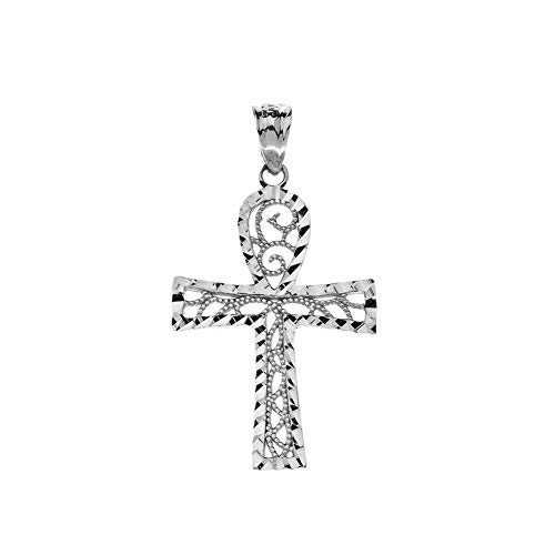 Exquisite Sterling Silver Sparkle-Cut and Filigree-Style Ankh Cross Pendant