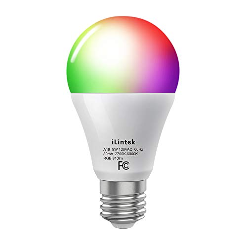 iLintek Bluetooth A19 White and Color Smart LED Light Bulb, Multicolor Dimmable Wake Up Night Light Bulbs, App Controlled(Support Remote Control), 9W(65W Equivalent), 810lm, No Hub Required (A19-9w)
