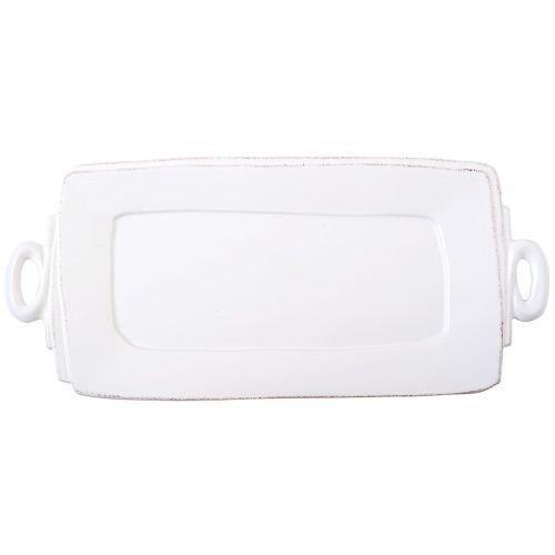 Vietri Lastra White Handled Rectangular Platter