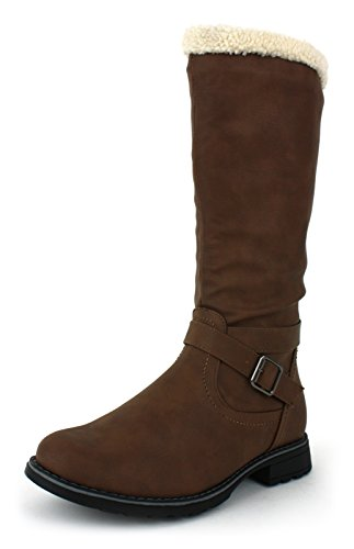 NEU ältere Mädchen/Kinder Braun Mode Stiefel mit Kunstpelzfutter braun - UK Größen 1-13