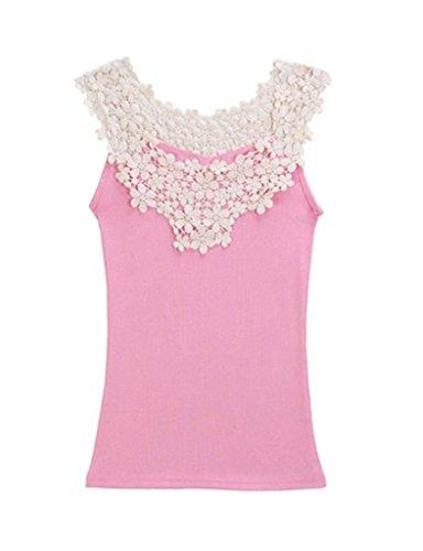 Legou Women's Crochet Lace Cotton Blend Cami One Size Pink