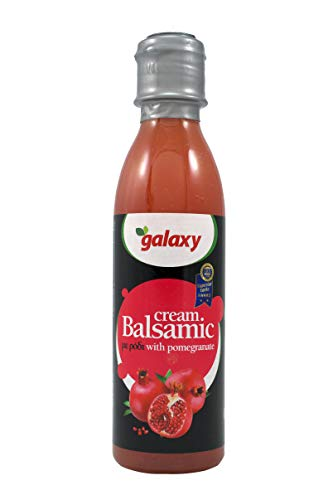 - Galaxy Balsamic Vinegar Cream (Glaze) Product of Greece Sweet Cream w/ Pomegranate Natural Juice,Traditional Aged with a Recipes for over 50 years Old Healthy Tasty Sauce, Non-GMO 8.45 oz (250 ml)