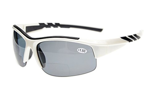 - Eyekepper TR90 Unbreakable Sports Bifocal Half Rimless Sunglasses Baseball Running Fishing Driving Golf Softball Hiking White Frame Grey Lens +1.5
