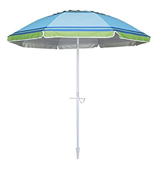 Yatio---7ft Beach Umbrella With Tilt & Integrated Long Sand Anchor,windproof, Sun Protection Spfupf100+, Bluegreen Stripe 3