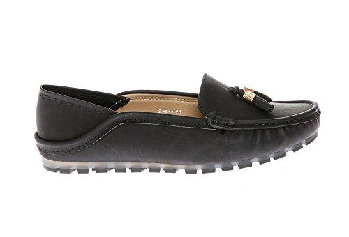 Nubuck Comfort KIKI on Tassel Women's Casual Slipper CALICO Flats Leather Slip Accent Moccasins Black Loafers qdtEnxATyA