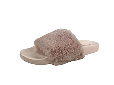 07df1c999bfd Women s Willow Faux Fur Soft Slides Flat Slippers Flip Flop