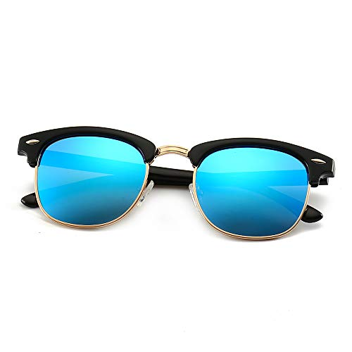 SUNGAIT 80s Sunglasses Retro Semi Rimless for Men Women (Black Frame (Glossy Finish)/Blue Mirror Lens) 3016 ()