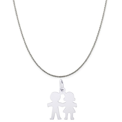 Rembrandt Charms 14K White Gold Boy and Girl Charm on a 14K White Gold Rope Chain Necklace, 20'' by Rembrandt Charms