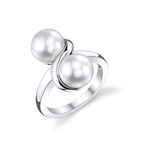 - THE PEARL SOURCE 7-8mm Genuine White Freshwater Cultured Pearl Double White Ring for Women