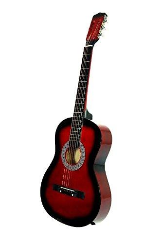 WHITE Beginners Acoustic Guitar for Starters + Pick + Strings & DirectlyCheap(TM) Translucent Blue Medium Guitar Pick