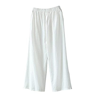 Pervobs Women Pants, Clearance! Women Loose Palazzo Cotton Linen High Waist Elastic Waist Wide Leg Pants Trousers from Pervobs