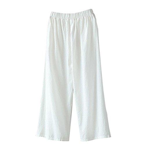 Pervobs Women Pants, Women Loose Palazzo Cotton Linen High Waist Elastic Waist Wide Leg Pants Trousers (M, White)