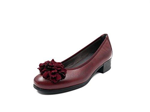Manoletina burdeos burdeos tacón piel 584 1362 color con en mujer adorno PITILLOS flor r6qgwrO