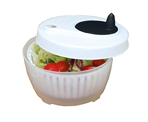 ExcelSteel 602 Functional, Fruits, Vegetables Mini Salad Spinner, 1.4 Qt, White
