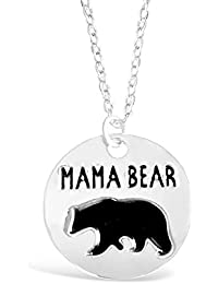 """Rosa Vila Round Plate Mama Bear Necklace, Expectant Mom Jewelry, Meaningful Birthday Necklace for Mom, Mother's Day Present for Women, 17"""" Chain"""