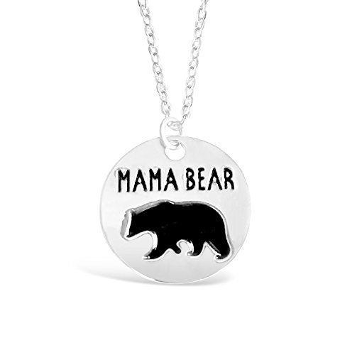 """Rosa Vila Round Plate Mama Bear Necklace, Expectant Mom Jewelry, Meaningful Birthday Necklace for Mom, Mother's Day Present, 17"""" Chain (Silver Tone)"""