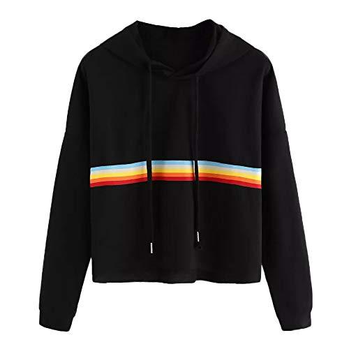Womens Long Sleeve Rainbow Patchwork Hoodies, O Neck Sweatshirt Casual Blouse ANJUNIE Pullover (Black,S) (Johnny Formal Dress)