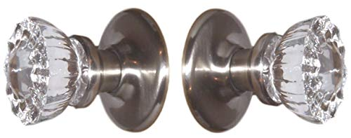 A Perfect Replica of the 12 Point Depression Crystal & Brushed Nickel PASSAGE DOOR KNOB set. Now at a the lowest price for self connecting Rosette. The very popular O'Ring hardware system with exposed screws only on one Rosettes backplate.