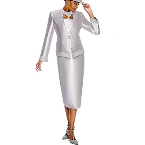 (Kueeni Women Church Suits with Hats Church Dress Suit for Ladies Formal Clothes White (Silver Suit,)