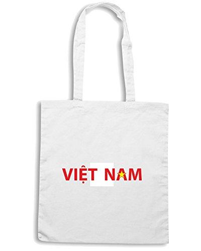 T-Shirtshock - Bolsa para la compra TM0267 Viet Nam2 flag Blanco