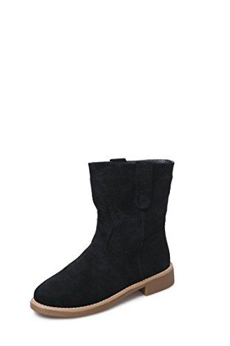 MEI&S La mujer Tacones Talón de bloque corto de cabeza redonda zapatos Black