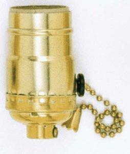 Satco Med Base 3-Way Pull Chain Socket Brite Gilt Finish model number 90-4310-SAT