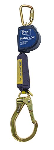 3M DBI-SALA Nano-Lok Extended 3101593 Fall Arrest Safety Clip 9-' Extended Length, Single Leg, Swiveling Steel Carabineer and Locking Nose Steel Rebar End